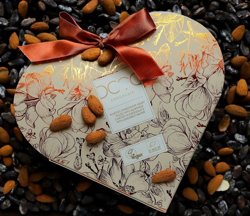 almond chocolate heart