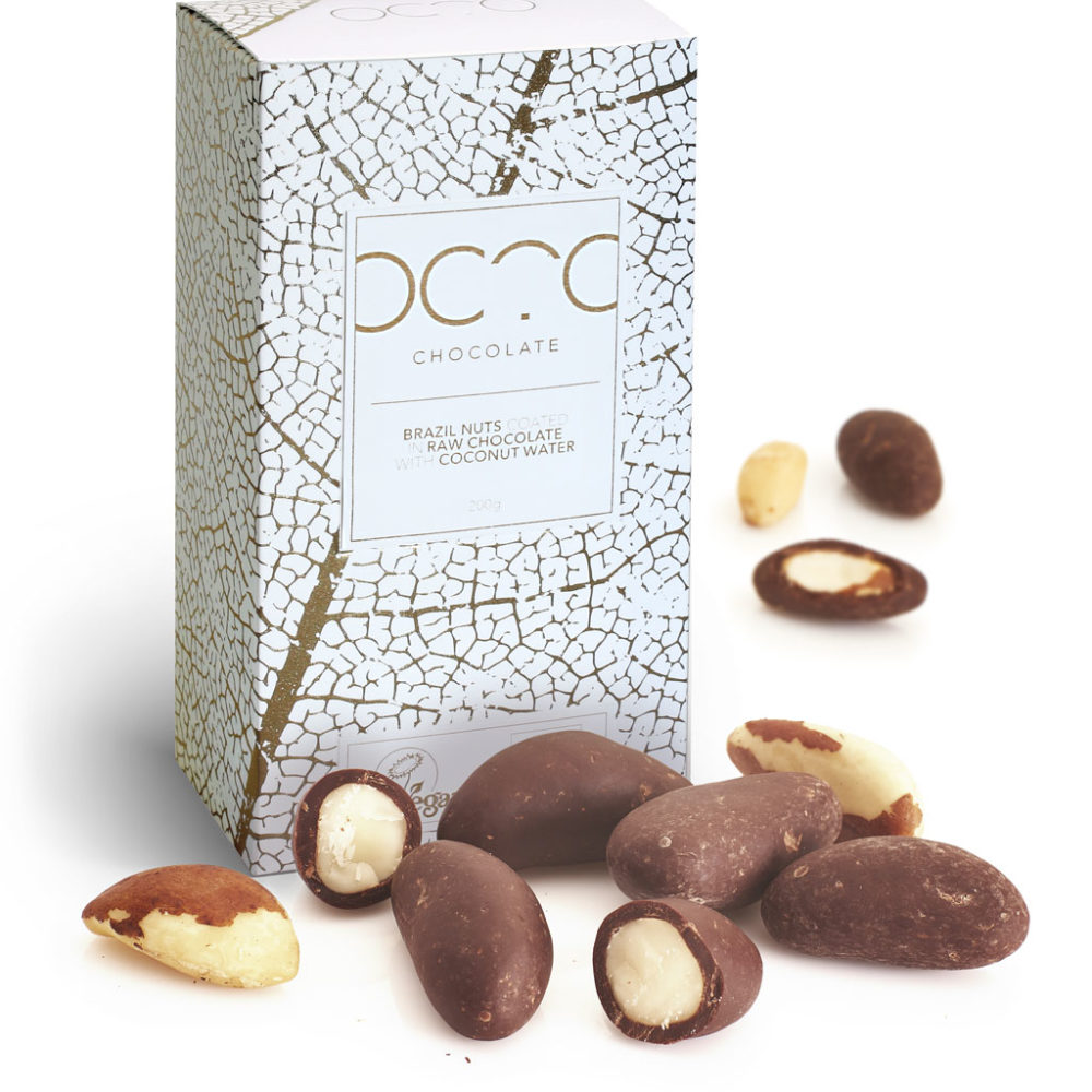 brazil nuts coated in raw chocolate