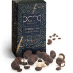 caschews nuts coated in dark chocolate and coffe